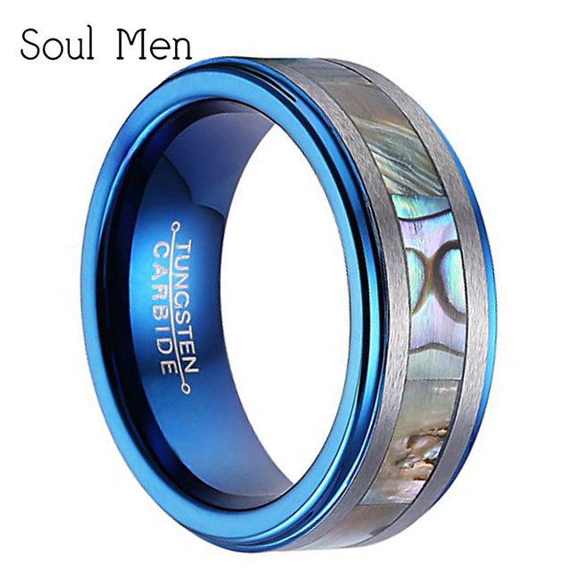 8mm Comfort Fit Tungtsen Carbide Abalone Shell Wolfram Rings Blue