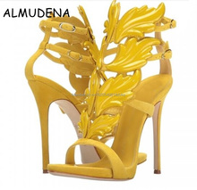 New Fashion Thin High Heels T-Strap Shoes Woman Patent Leather Sexy Hollow Thong Sandals Women Angel Wings Pumps