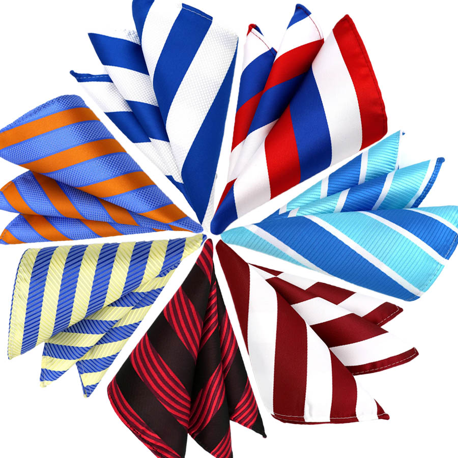 Mens Pocket Square Fashion 25CM Handkerchief Striped Hanky Men Suit Chest Towel Accessories For Business Wedding Party Gift
