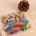 20 pcs DIYSmall Size 35mmX10mm Mini Natural Wooden Clips For Photo wall Clips Clothespin Craft Decoration Clips Pegs Wholesale