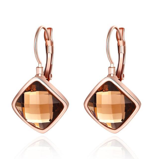 Fashion Jewelry Women Rose Gold Cover Clip Earrings Rhombus Rainbow