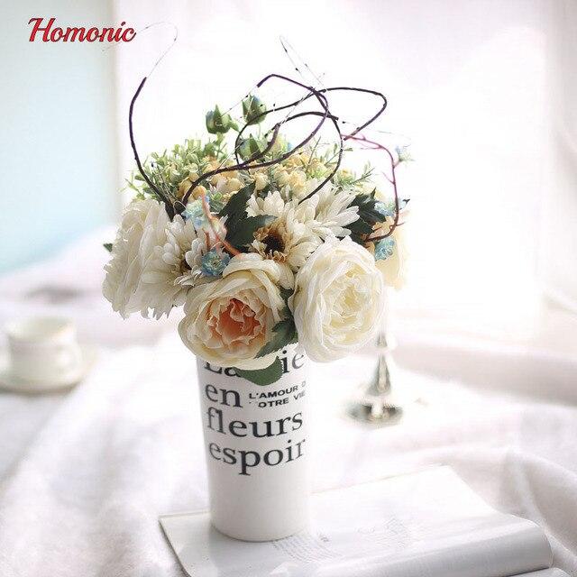 Silk flower wedding bouquet roses African dais Artificial flowers ...