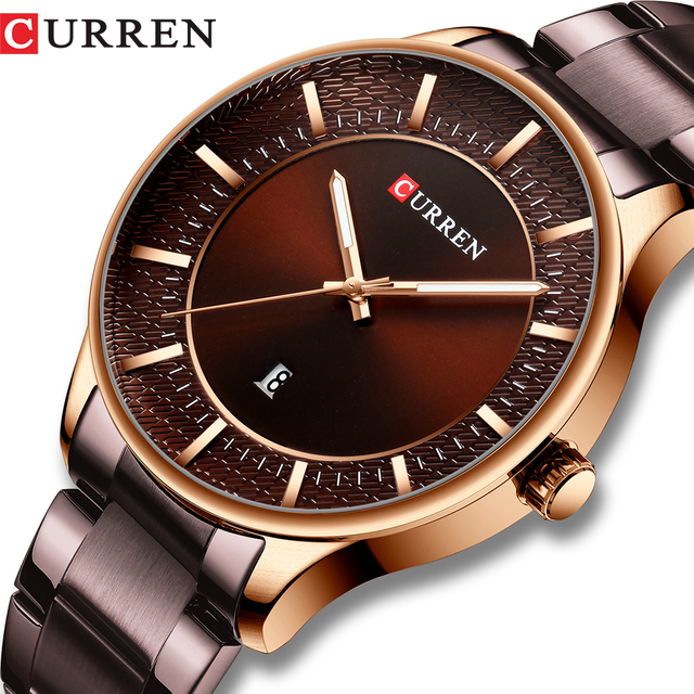 CURREN Relogio Masculino Fashion Male Clock Man Stainless Steel Band Watch Men Quartz Wristwatch with Date Casual Business Gift