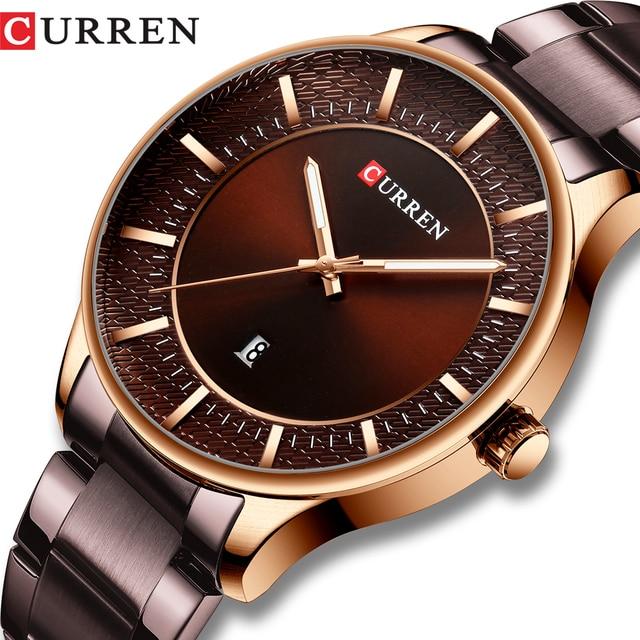 CURREN Relogio Masculino אופנה זכר שעון איש נירוסטה להקת שעון גברים קוורץ שעוני יד עם תאריך מקרית עסקי מתנה