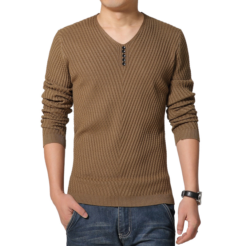 2017 Spring Autumn Hot Solid Knitted Sweater Men V neck Casual Slim Pullover Men Asian Size