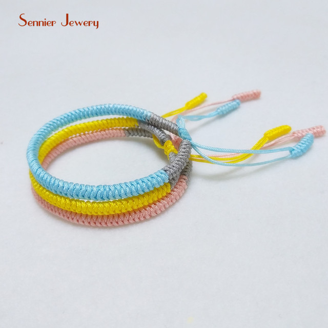 Handmade Fresh Color Tibetan Buddhist Braided Bracelets Knots Lucky Yellow Rope Bangle For Women Size Adjule