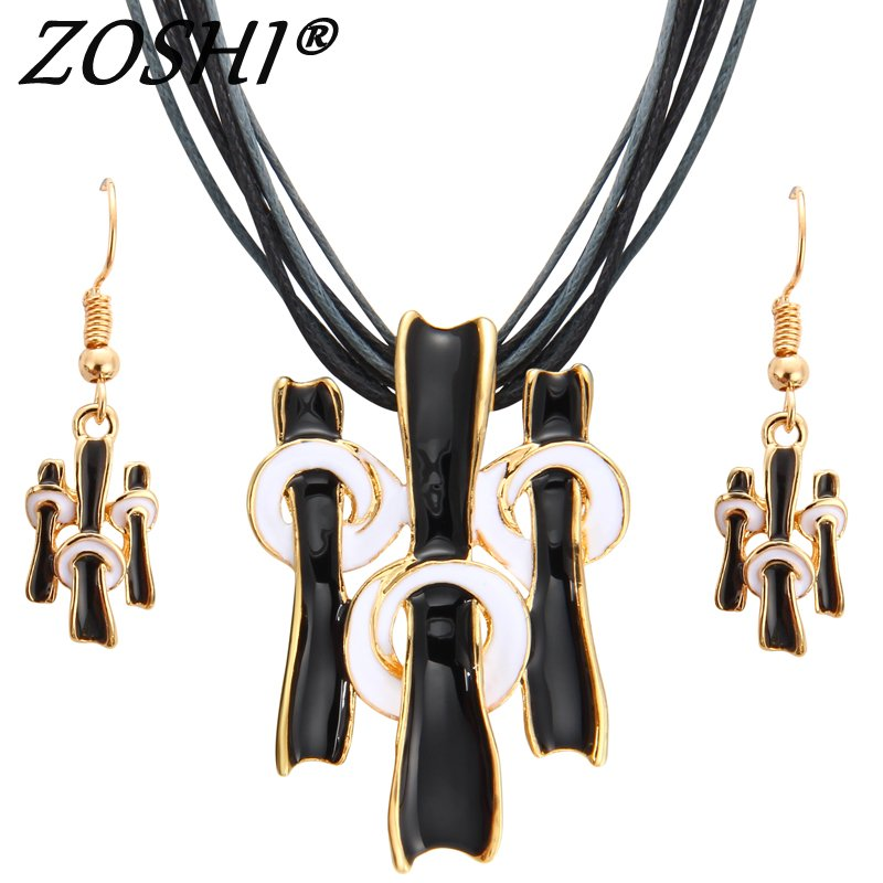 ZOSHI Necklace Earring Costume Jewelry-Set Rope-Chain Wedding-Accessories Gold Woman