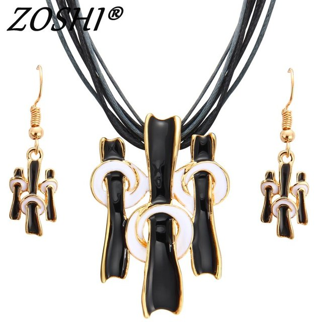 ZOSHI Women Jewelry Set Gold Fashion Necklace Earring Black Multilayer Rope Chai