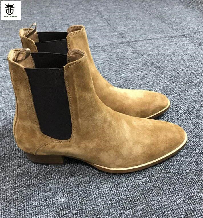 FR.LANCELOT 2019 fashion new mens boots slip on pointed toe suede leather chelsea boots med heel men boots party dress bootiesFR.LANCELOT 2019 fashion new mens boots slip on pointed toe suede leather chelsea boots med heel men boots party dress booties