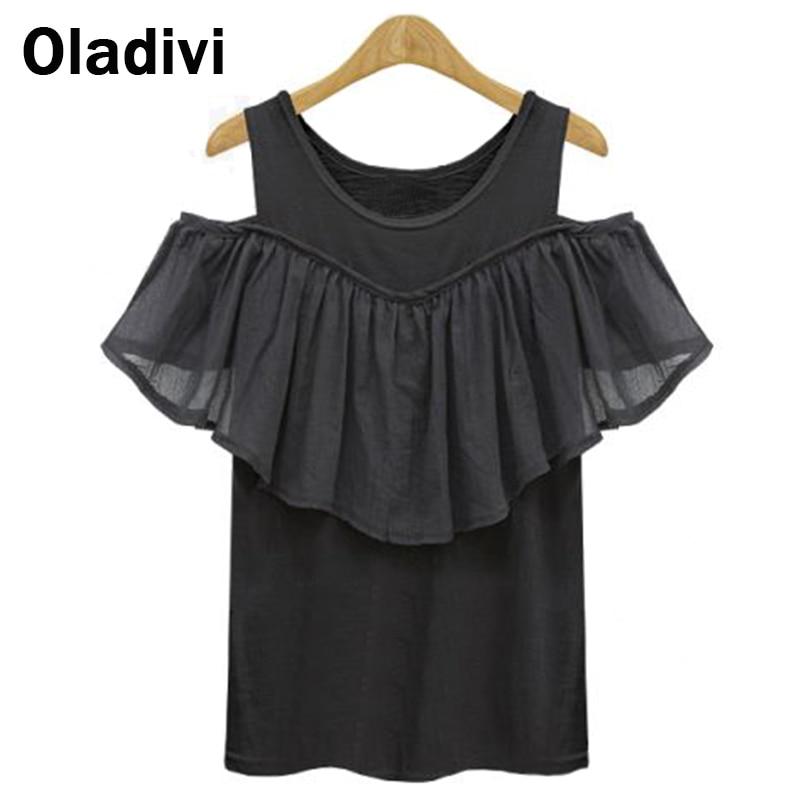 Fashion 2017 Women White Black Chiffon Blouse Off Shoulder Short Sleeve Loose Casual Tops Shirts Ruffle Blouses Plus Size Tunics