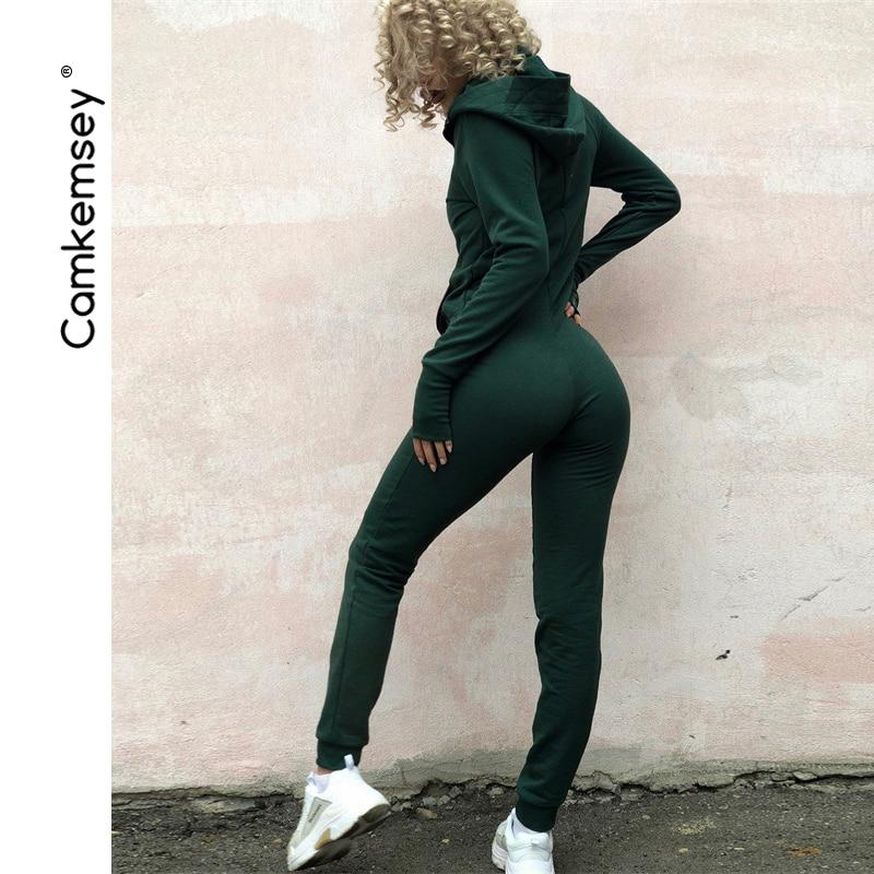 Autumn Winter Women Workout Tracksuit Jumpsuit Female Sportswear Zippers Long Sleeve Hooded Bodycon Rompers Womens Jumpsuit