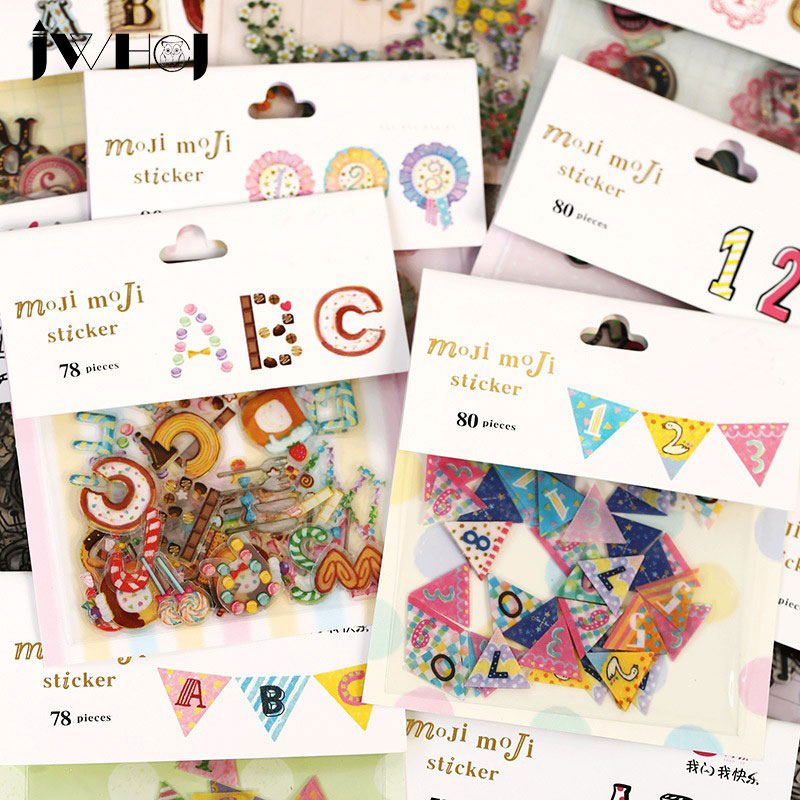 78 pcs/bag  vintage Letters&Numbers adhesive paper sticker decoration DIY Card Scrapbooking stationery paper sticker