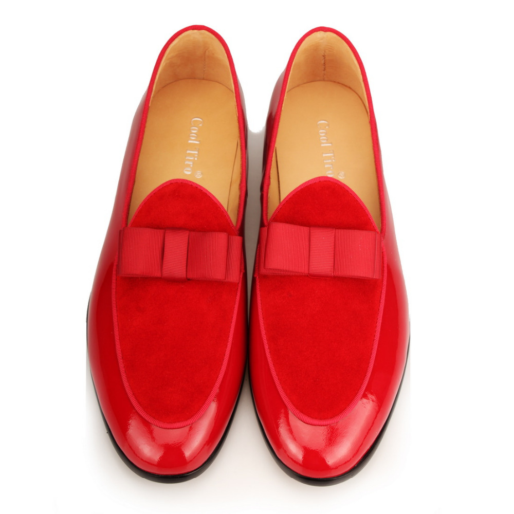 red Patent leather Loafers Men Flat Shoes  (6)