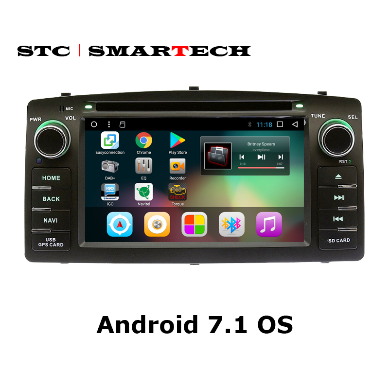 SMARTECH 2 din Android 7.1 Car Radio DVD Player GPS Navigation For toyota corolla E120 support 4G WIFI OBD DVR DAB+ TPMS Camera