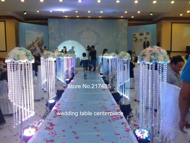 Decorated Crystal Pillars For Weddings Without Led Lighting Pillar