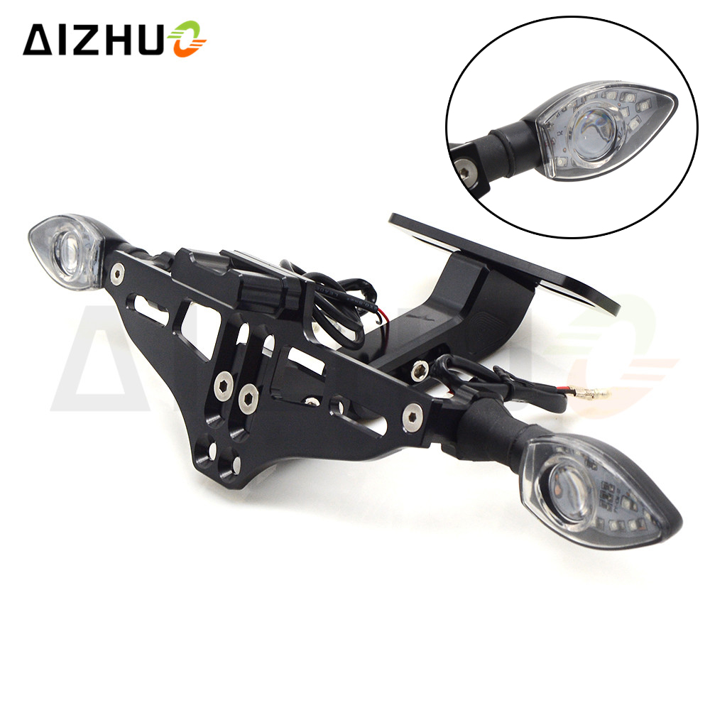 Motorcycle Universal License Plate Bracket Holder Turn Signal Lights FOR HONDA CB400 599 CB600 CB190R CB400SF HORNET CB 1 CB400F in Covers Ornamental Mouldings from Automobiles Motorcycles