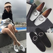 2016 New Arrival Women Genuine Leather Shoes Woman Fashion Flat Shoes Female Lazy Casual Loafers Color Black White