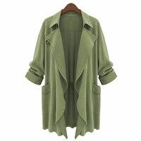 Long Army Green Autumn Winter Jacket Plus Size American Apparel Women Fashion Turn Down Collar Asymmetrical
