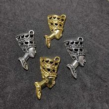 Egyptian Egypt Queen Nefertiti Charms for Jewelry Making Necklace Bracelet Silver Gold Pendant Fashion Jewelry Accessories 5pcs