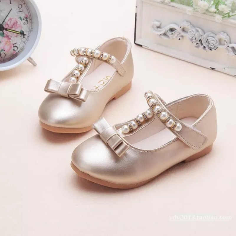 2019Spring New Kids Childrens Shoes Bowknot Beads Princess Girls Shoes For Party And Wedding Gold Silver 1 2 3 4 5 6 7 8 9-15T