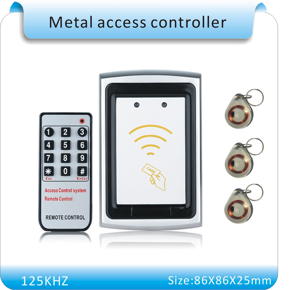 Free shipping DC12V k75 metal shell rfid lock system   RFID Card Door Access Controller+5 crystal keyfobs metal rfid em card reader ip68 waterproof metal standalone door lock access control system with keypad 2000 card users capacity