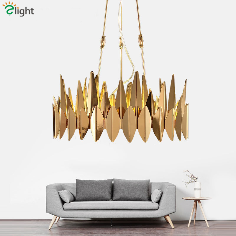 Luxury Plate Gold Leaf Shape Metal Lustre Circle Led Pendant Lights Adjustable Rod Hanging Lamp Living Room Lighting Fixtures