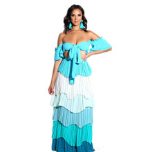 Sexy Women 3 Colors Strapless Crop Top Long Skirt Two Piece Sets Clubwear Party Colorful Stripe 2