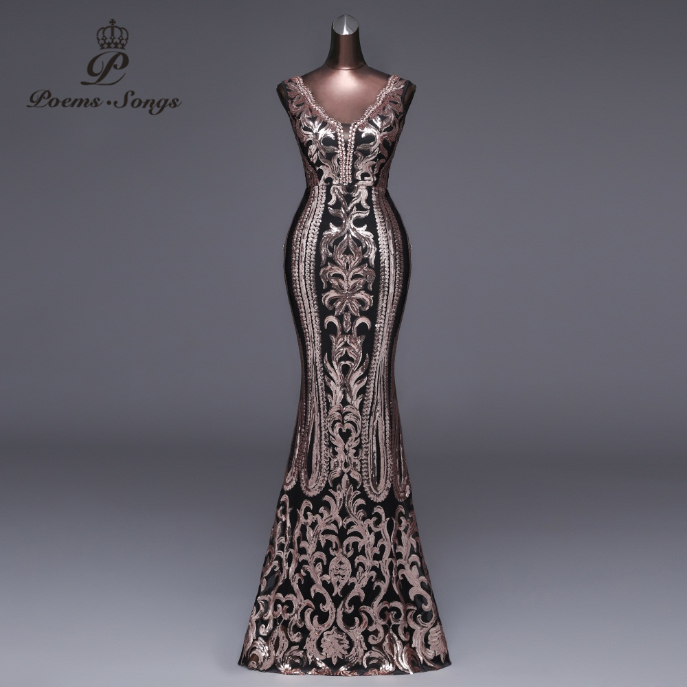 Poems Songs 2019 New Double V Long Evening Dress vestido de festa Sexy Backless Luxury Gold