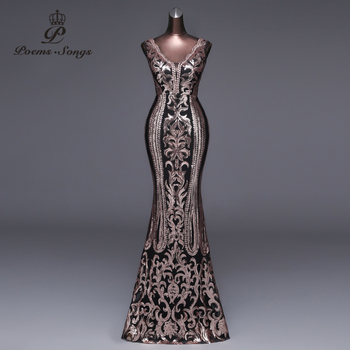 Poems Songs 2019 New Double-V Long Evening Dress vestido de festa Sexy Backless Luxury Gold Sequin formal party dress prom gowns 1