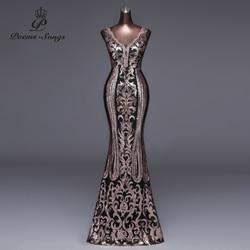 Женское вечернее платье с двойным v-образным вырезом и открытой спиной, роскошное вечернее платье с золотыми блестками для выпускного вечер...