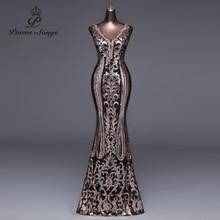 New Double V Long Evening Dress vestido de festa Sexy Backless Luxury Gold Sequin formal party dress prom gowns vestido de mujer