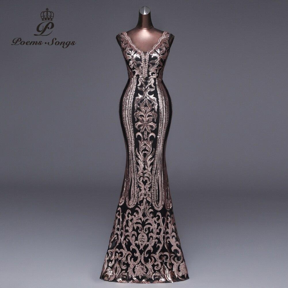 Poèmes chansons 2019 nouveau double-v longue robe de soirée vestido de festa Sexy dos nu luxe or Sequin formelle robe de soirée robes de bal
