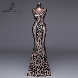 Poemas Músicas 2019 Nova Dupla-V Vestido de Noite Longo vestido de festa Sexy Backless formal do partido vestido de Lantejoulas de Ouro de Luxo vestido prom vestidos