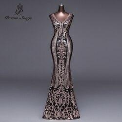 Poemas canções 2019 novo double-v longo vestido de noite vestido de festa sexy sem costas luxo ouro lantejoulas formal vestido de festa de formatura vestidos