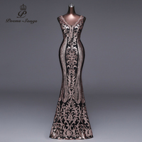 Poems Songs 2018 New Double V Long Evening Dress vestido de festa Sexy Backless Luxury Gold Sequin formal party dress prom gowns