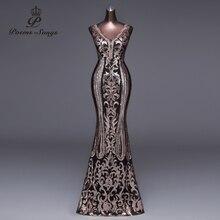 새로운 더블 V 긴 이브닝 드레스 vestido de festa 섹시한 백 레이스 럭셔리 골드 스팽글 공식 파티 드레스 파티 드레스 가운