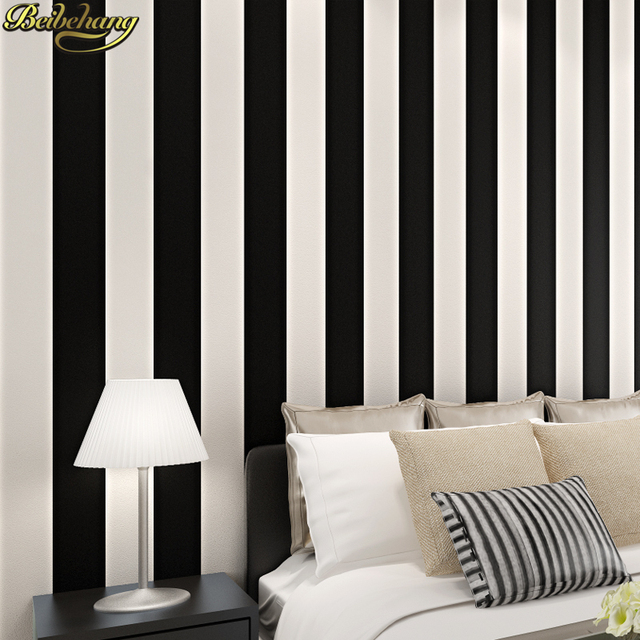 Beibehang Noir et blanc chambre simple moderne vertical papier peint ...
