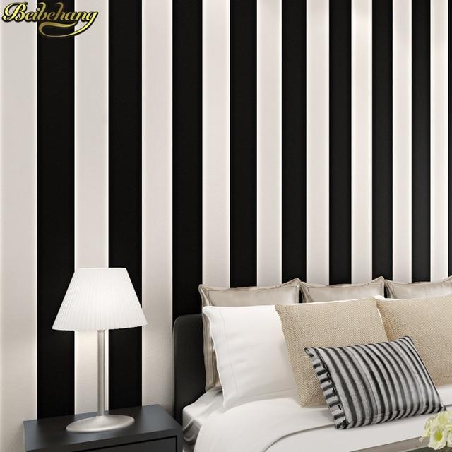 € 31.51 24% de réduction|Beibehang noir et blanc chambre simple moderne  vertical papier peint vertical rayé papier peint salon étude maison ...