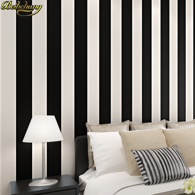 bedroom vertical wall simple striped study living paper modern beibehang wallpapers