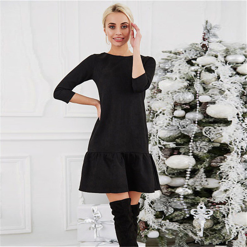 Fall 2018 Women Suede Casual Three Quarter Sleeve T Shirt Mini Dress Autumn Winter Fashion Vintage Ruffle Christmas Dresses 7