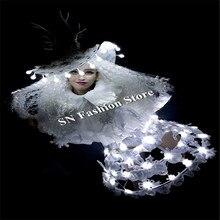 Bc69 Рождество принцессы LED костюмы бальных танцев световой женские платья шоу на сцене носит одежду DJ певица Сексуальная Бар LED