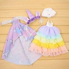 Одежда для 1/6 Blyth кукольная одежда с изображением единорога платье с накидкой и лентой для волос милый наряд принцессы подарок для девочки ледяная игрушка BJD