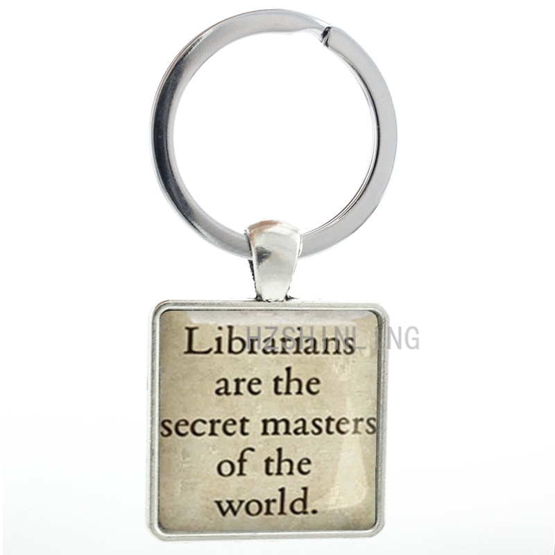 Librarians are the secret masters of the world keychain vintage quote words text keyring ...