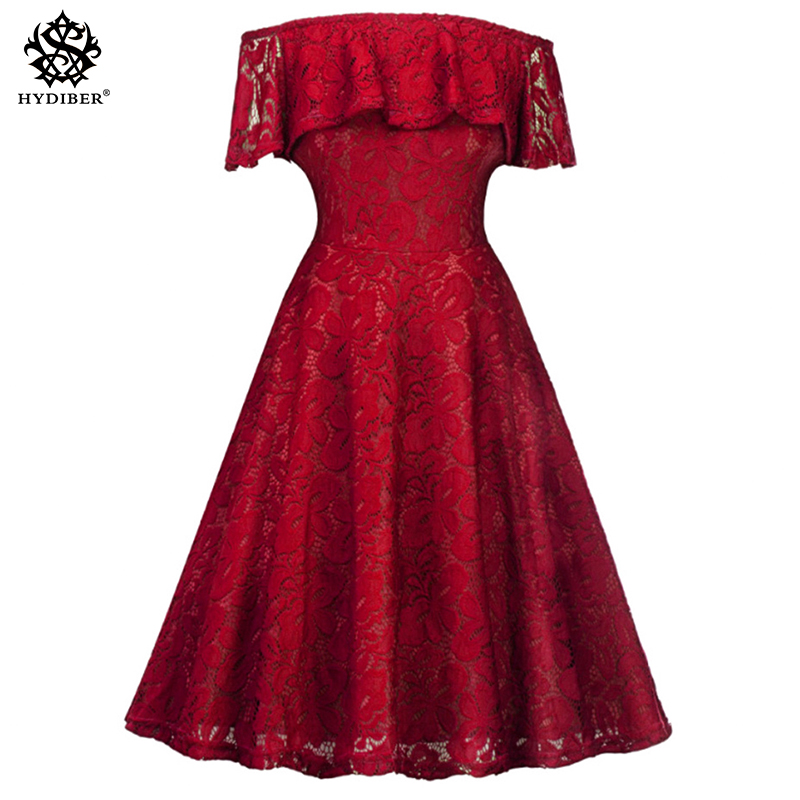 2018 Fashion women Elegant red Dress off shoulder sweet lace black Dress stylish sexy casual slim Summer Sundress vestido clothe