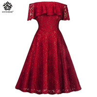 2018 Fashion women Elegant red Dress off shoulder sweet lace black Dress stylish sexy casual slim Summer Sundress vestido clothe