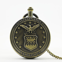 Vintage Bronze Steampunk United States Navy Badge Military Pocket Watches for Men Women Necklace Gift Wholesale Prices