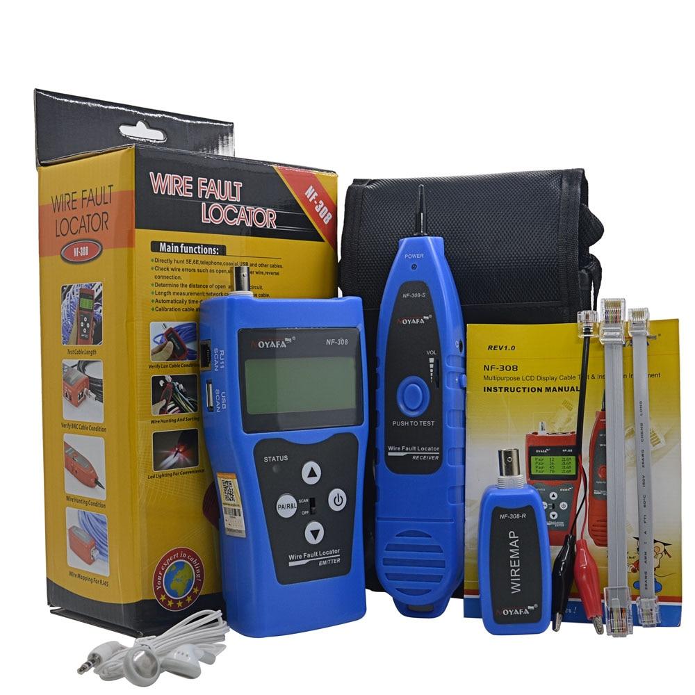 Noyafa NF-308B Telephone Wire Tracker Network LAN Cable Tester For Diagnose Tone RJ11 USB BNC RJ45 CAT5E CAT6E Metal Line NF-308