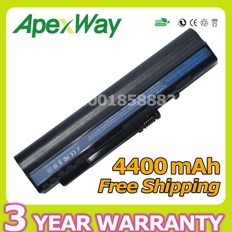 Apexway 4400mAh 6 cell battery for Acer Aspire One zg5 A110 A150 D250 ZG5 P531h Series LC.BTP00.043 UM08A71 UM08A72 UM08A73 клавиатура topon top 73401 для acer aspire one a110 a110x 110l 150 a150x 150l zg5 series d250 series white