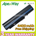 Apexway 4400mAh 6 cell  battery for Acer Aspire One zg5 A110 A150 D250 ZG5 P531h Series LC.BTP00.043 UM08A71 UM08A72 UM08A73