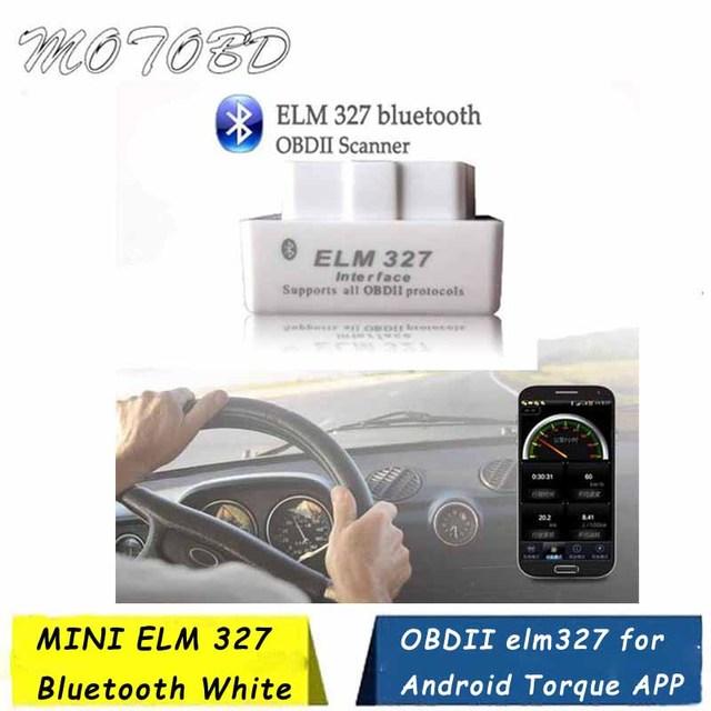 White Super Mini ELM327 Auto Scanner Code Reader ELM 327 Bluetooth OBD2 for Android Torque OBDII Car V2.1 Vehicle OBD Scan Tool
